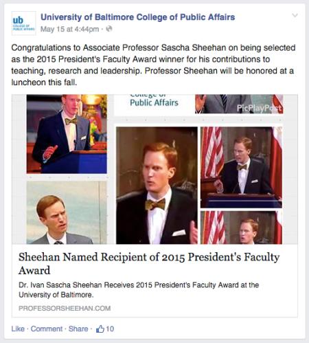 Dr. Ivan Sascha Sheehan Receives President's Faculty Award